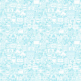 Line Coding White Seamless Pattern