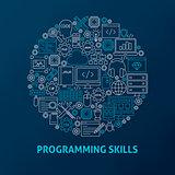 Line Programming Skills Icons Circle