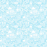 Line Programming White Seamless Pattern