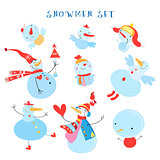 Vector collection of snowmen