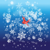 Winter bright background with snowflakes and a bird