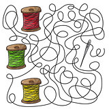 Maze game needle and spools of thread