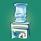 Hand drawn pop art illustration of water cooler.