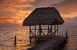 Belize Hut During Sunset
