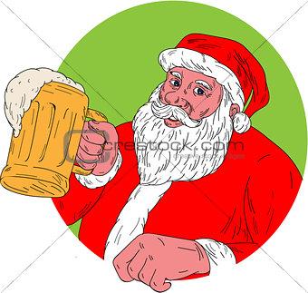 Santa Claus Drinking Beer Drawing