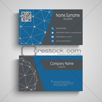 Business card with abstract connection pattern template