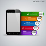 Time line info graphic with mobile phone and colored stripes