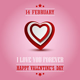 Valentine poster with red white hearts template