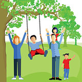 Little boy Swing on tree in park