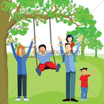Little boy Swing on tree in park