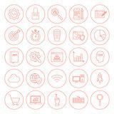 Line Website Development Circle Icons