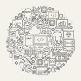 Programming Line Icons Circle