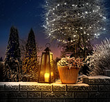 Christmas lantern in winter garden
