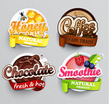 Set of stickers for drinks.