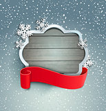 Winter background with vintage frame.