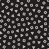 Scattered Geometric Line Shapes. Vector Seamless Black and White Pattern.