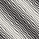 Wavy Ripple Hand Drawn Gradient Lines. Vector Seamless Black and White Pattern.