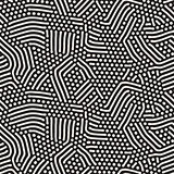 Organic Irregular Rounded Lines Vector Seamless Black and White Pattern