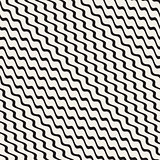 Wavy Ripple Stripes. Vector Seamless Black and White Pattern.