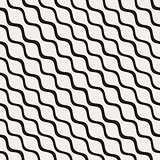 Vector Seamless Black and White Hand Drawn Diagonal Wavy Lines Pattern