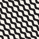 Wavy Ripple Lines. Vector Seamless Black and White Pattern.