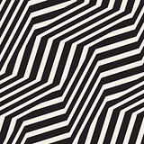 ZigZag Edgy Stripes Optical Illusion Effect. Vector Seamless Black and White Pattern.