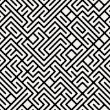 Vector Black and White Maze Geometric Seamless Pattern