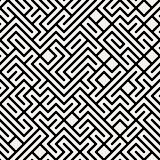 Vector Black and White Maze Geometric Seamless Pattern