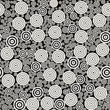 Vector BW Concentric Circles Mosaic Jumble Seamless Pattern