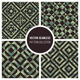 Vector Seamless Green Truchet Geometric Pattern Collection