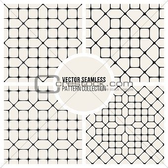 Four Vector Seamless Black and White Geometric Pattern Tiling