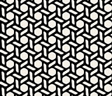 Vector Black and White Hexagonal Seamless Geometric Pattern