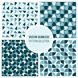 Vector Seamless Blue Round Diagram Geometric Pattern Collection
