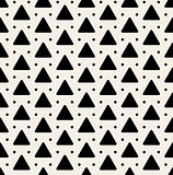 Vector Seamless Black And White Rounded Triangle Dots Pattern