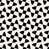 Seamless Black White Vector Geometric Swirl Cross Checker Pattern