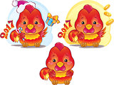 Cute Symbol of Chinese Horoscope - Fire Rooster