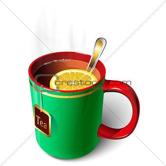 Green mug of tea