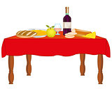 Table with meal and drink
