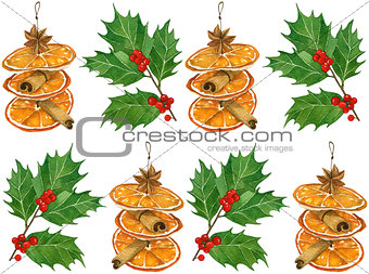 watercolor Christmas card with traditional holiday elements. oranges,holly leaves and berries, hand drawn lettering, spices in postcard format.