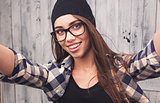 Hipster girl with braces