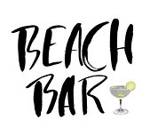 Hand drawn phrase beach bar isolated on the white background. Hand lettering calligraphy greeting card or invitation for summer party template and other seasonal Summer holiday. Vector texture.