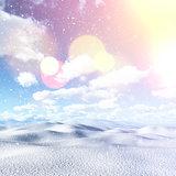3D snowy landscape with vintage effect