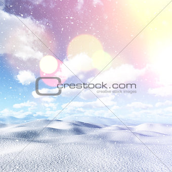 3D snowy landscape with vintage effect