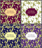Floral Cards set with seamless large leaves of plants pattern.