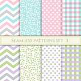 Set of seamless patterns in pastel colors for fabric, wrapping paper or scrap