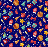 Cute christmas seamless pattern. Flat designed style