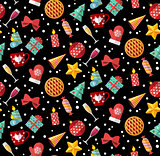 Winter christmas seamless pattern. Flat designed style