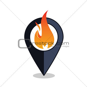 Flame Point - Map Pointer With Fireplace Sign - Fire Alarm