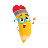 Yellow cartoon pencil in nerdy glasses telling something clever