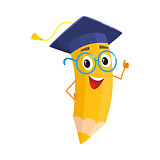 Yellow cartoon pencil with in graduation cap giving okay